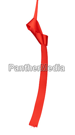 red silk ribbon hanging with a