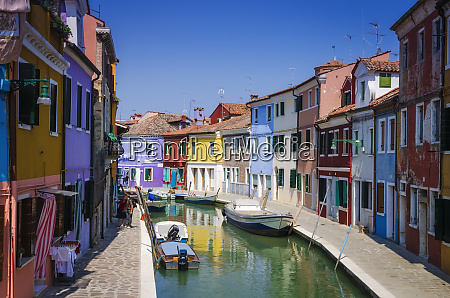 colorful, houses, and, canal, , burano, , veneto, - 27967938