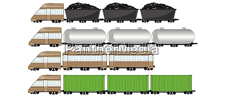 train cargo on white background is
