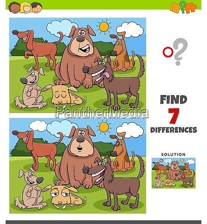 differences game with funny dogs group