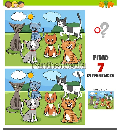 differences game with comic cats group