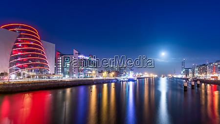 blue hour at dublin docks beautifully