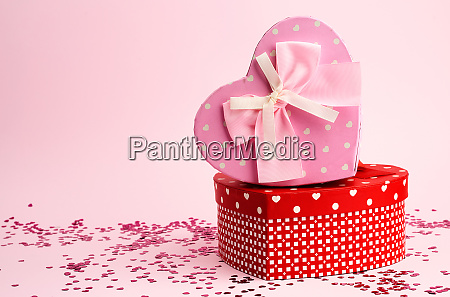 closed pink and red gift