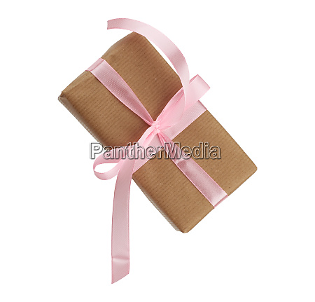 rectangular box wrapped in brown paper