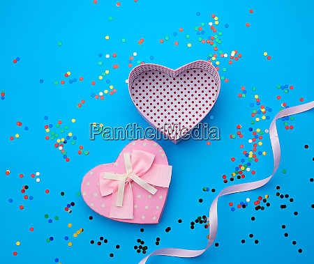 open pink heart shaped cardboard box