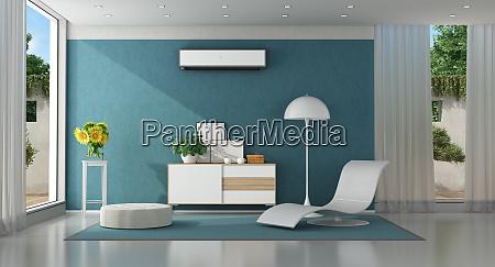 modern blue living room of a