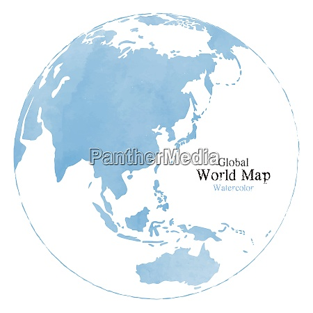 global world map with watercolor texture