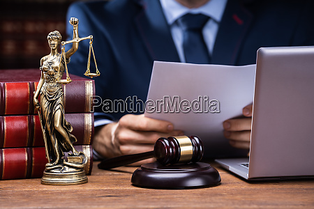lawyer reading documents near mallet and