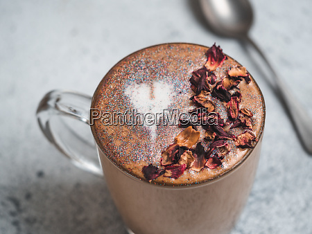 diamond cappuccino coffee with dried rose