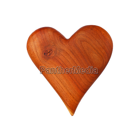 one wooden carved heart isolated on