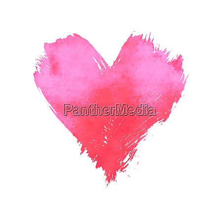 pink watercolor painted heart shape on
