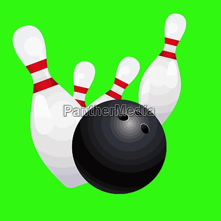 bowling ball pins strike game illustration