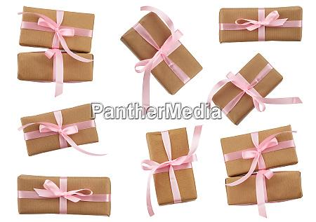 rectangular boxes wrapped in brown kraft