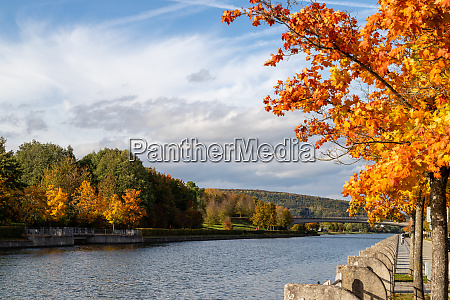 autumn landscape with multicolored trees and