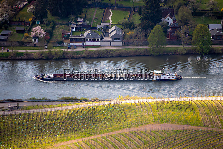cargo ship on the river moselle