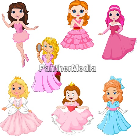 set of cute cartoon princesses isolated