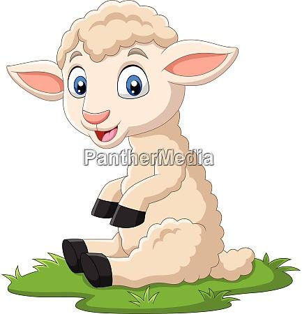 cute lamb cartoon sitting on the