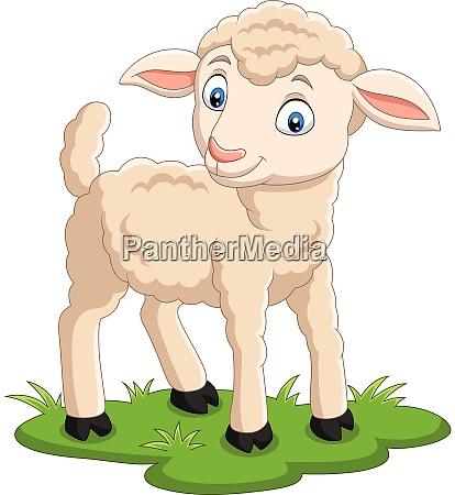 cartoon happy lamb on the grass