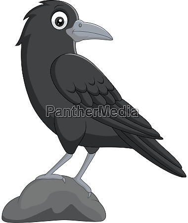 cartoon crow standing in stone on