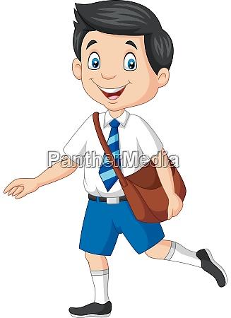 cartoon happy school boy in uniform