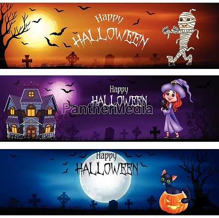three sets of halloween banners