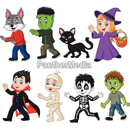 cartoon happy little kids with halloween