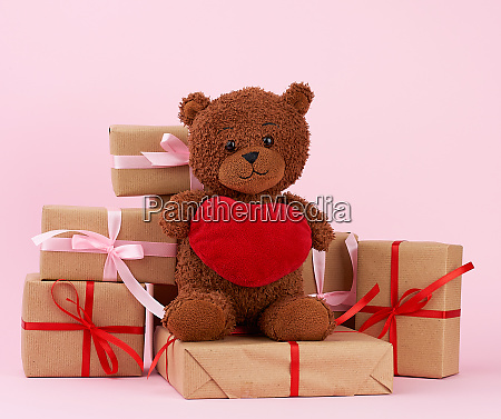 cute brown teddy bear and gift