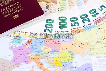 european money with passport on the