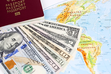 american dollars with passport on the