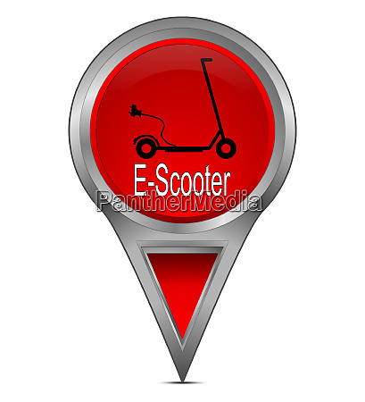 red map pointer with e scooter