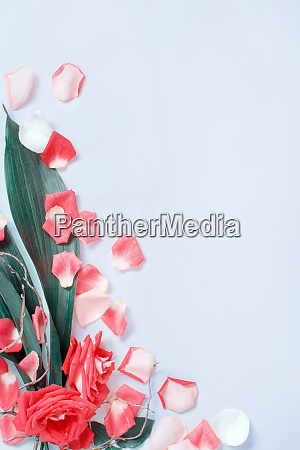 spring composition with petals and roses