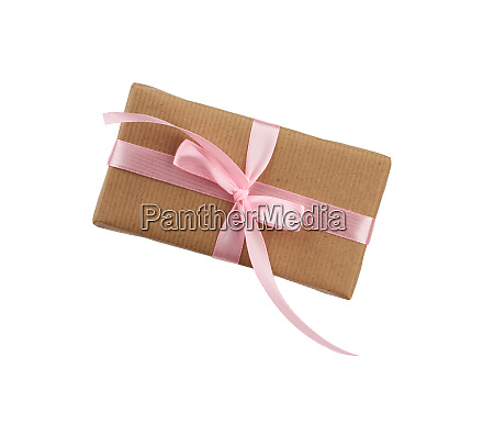 rectangular box wrapped in brown kraft