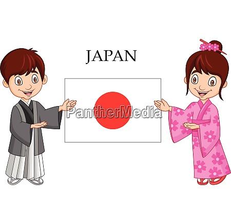 cartoon japanese couple wearing traditional costume