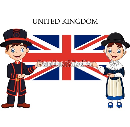 cartoon united kingdom couple wearing traditional