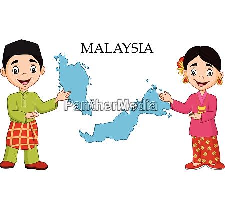 cartoon malaysia couple wearing traditional costume