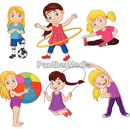 cartoon little girls with different hobbies