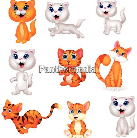 cute cats cartoon collection set