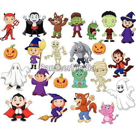 cartoon children with halloween costume