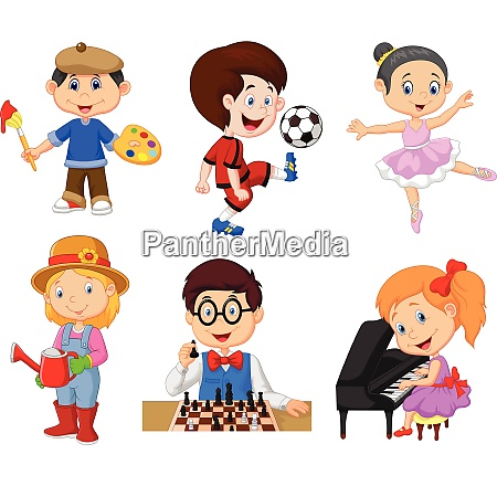 cartoon kids with different hobbies on