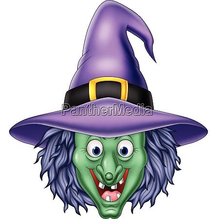 cartoon witch head isolated on white