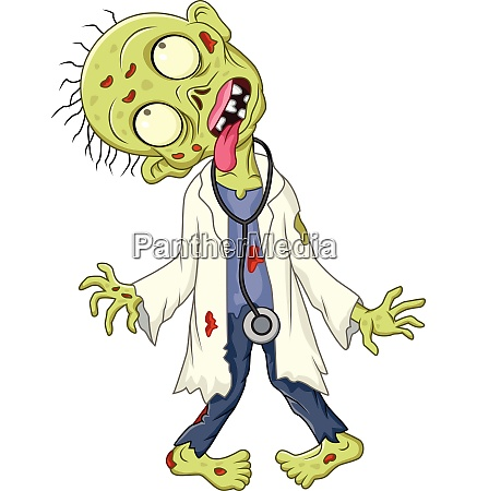 cartoon zombie doctor on white background