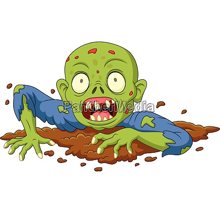 cartoon zombie out of the ground