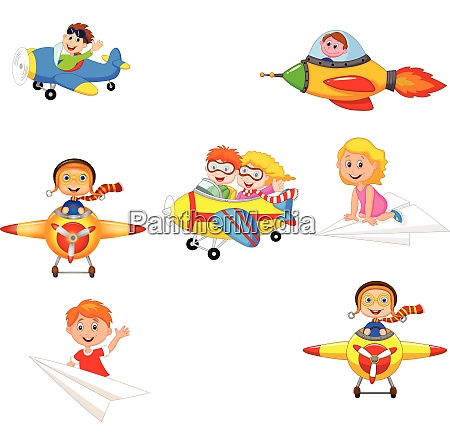 cartoon children playing plane toys collection