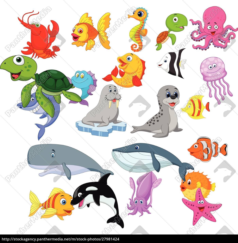 cartoon, sea, life, collection, set - 27981424