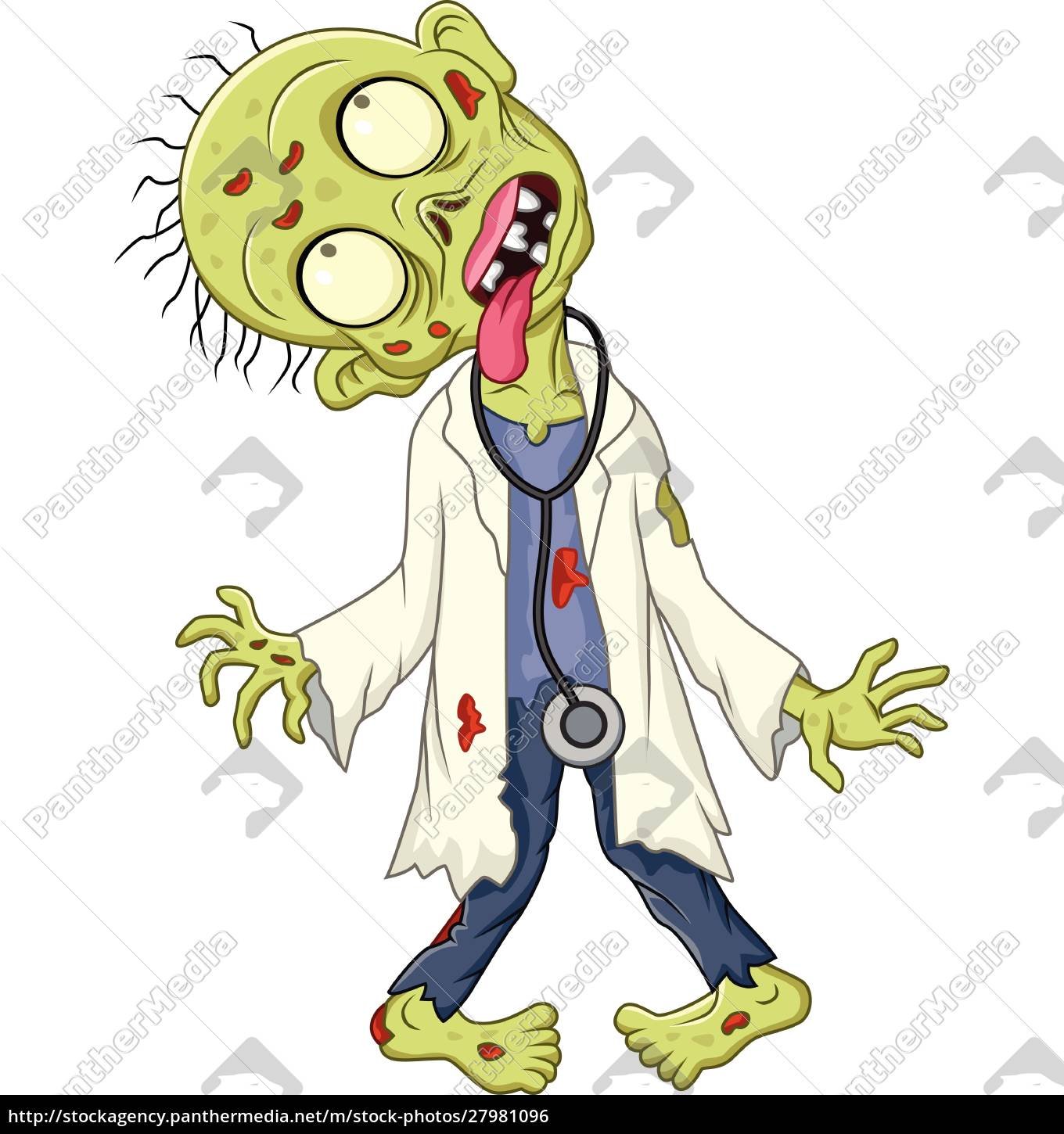 cartoon, zombie, doctor, on, white, background - 27981096