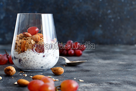 chia pudding parfait with red grapes