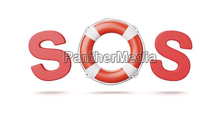 sos text lifebelt isolated on white