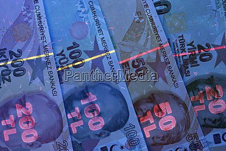 turkish money in uv rays