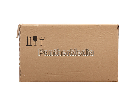 rectangular box of brown cardboard isolated