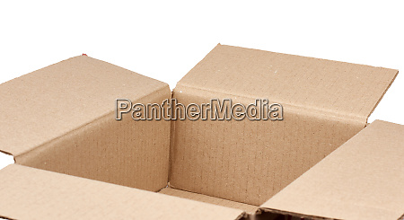 open empty brown square cardboard box